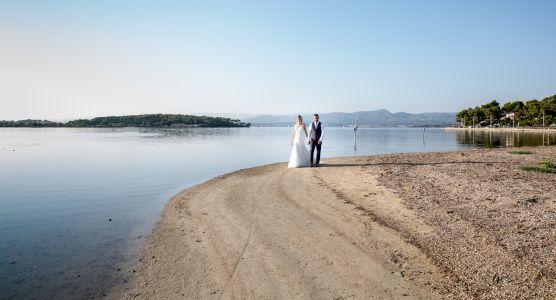 promenade des mariés au bord de la lagune