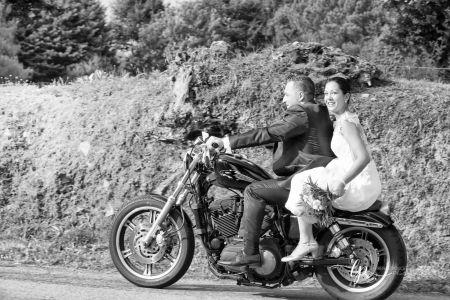 Les mariés en moto